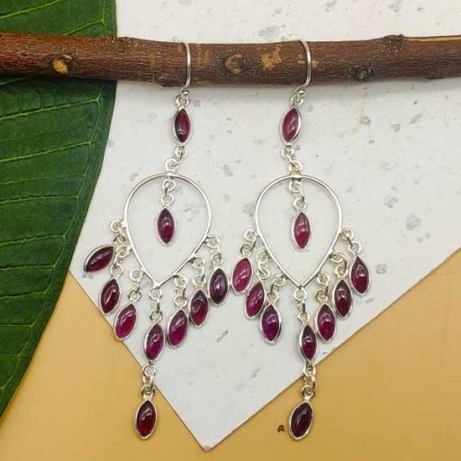 Long Marquise Shape Red Garnet Gemstone Handmade 925  Sterling Silver Design Earring