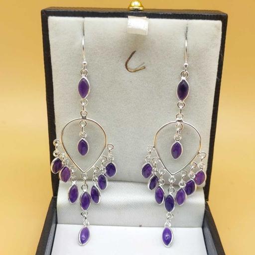 Marquise Shape Amethyst Gemstone Handmade 925 Sterling Silver Bezel Earring