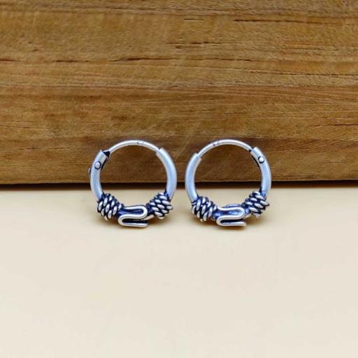 Twist Wire Wrap Oxidized 925 Silver Bohemian Hoop Earring