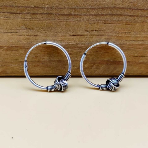 Knot Design 925 Oxidized Sterling Silver Handmade Bali Traditional Earring