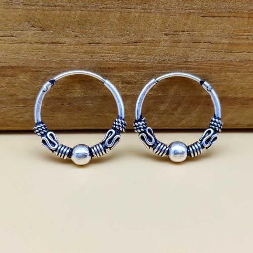 Handmade 925 Sterling Silver Traditional Bohemian Hoop Earring
