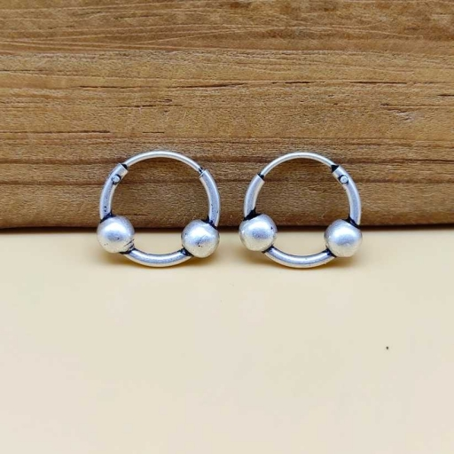 Small Two Wasser Designer Tribal Authentic Vintage Hoop 925 Silver Earring