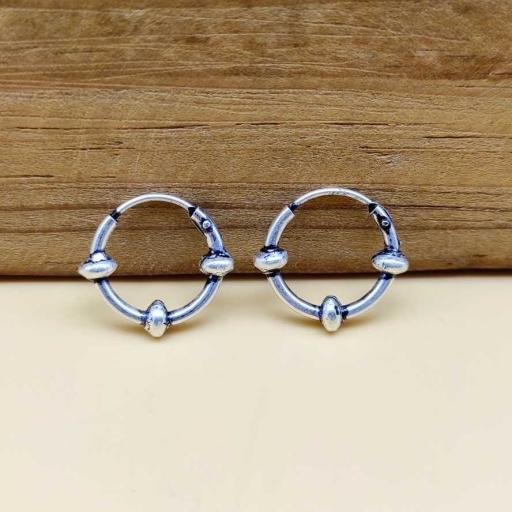 925 Sterling Silver Vintage Tribal Bohemian Hoop Bali Earring