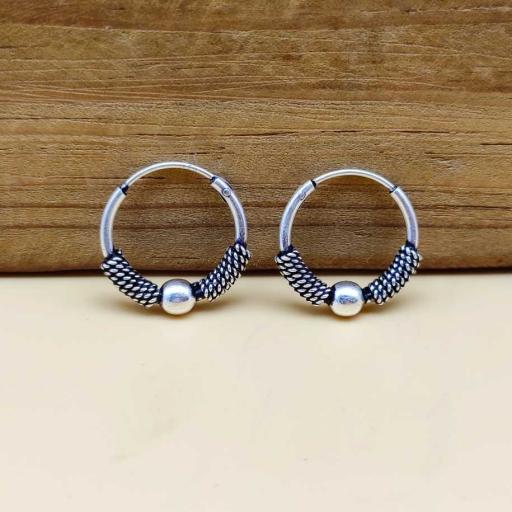 Tribal Vintage Oxidized 925 Sterling Silver Bohemian Hoop Bali Earring