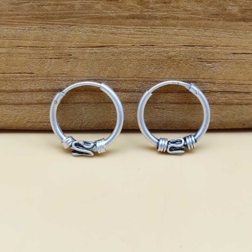 Dainty Handmade S Design Authentic Rajasthani Hoop In 925 Sterling Silver