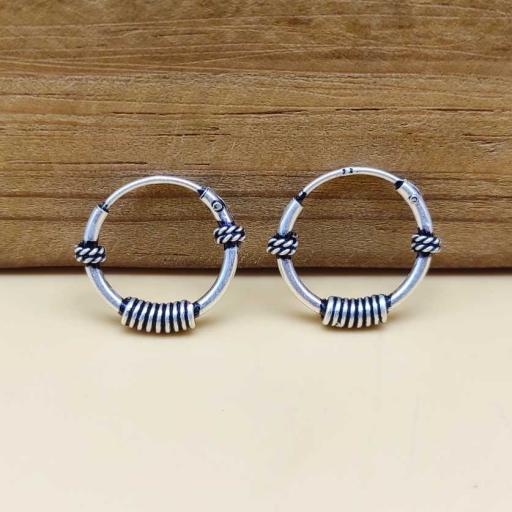 925 Sterling Silver Wire Wrapped Handmade Bohemian Bali Hoop Earring