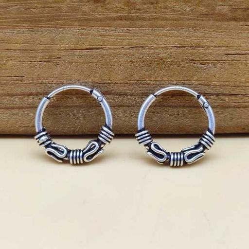 Handmade Designer 925 Sterling Silver Party Wear Hoop Bali Earring