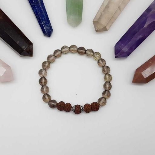 Handmade Designer Natural Smokey Quartz And Rudraksh Gemstone Beaded Bracelet For Yoga And Meditation