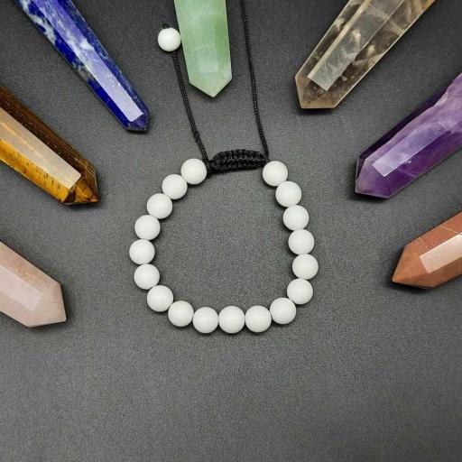 Handmade Designer Natural White Agate Gemstone Beaded Bracelet For Yoga And Meditation