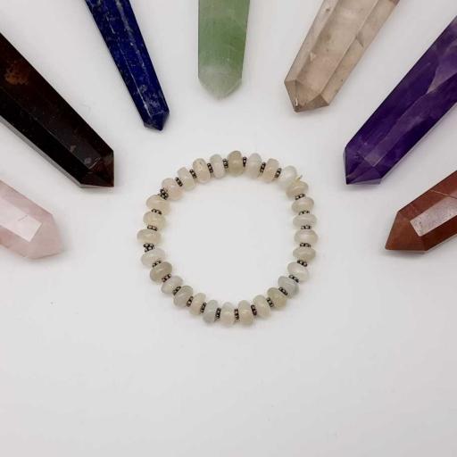 Handmade Designer Natural Peach Moonstone Gemstone Beaded Bracelet For Yoga And Meditation
