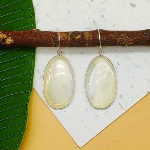White Agate Slice Gemstone Handmade 925 Sterling Silver Earring