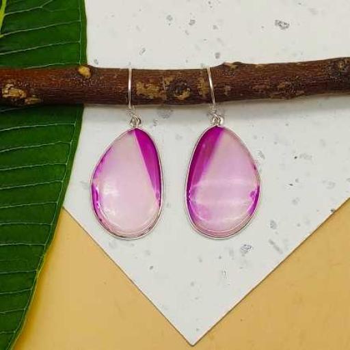 Pink Agate Slice Gemstone Handmade 925 Sterling Silver Earring
