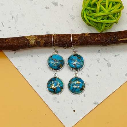 Blue Copper Turquoise 925 Sterling Silver Handmade Dual Stone Earring