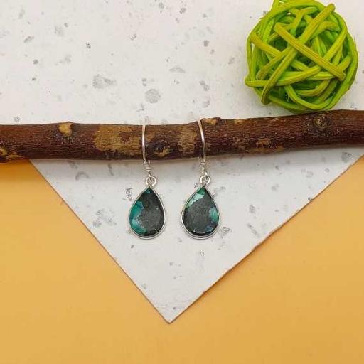 925 Sterling Silver Handmade Bohemian Tibeti Turquoise Bezel Design Earring