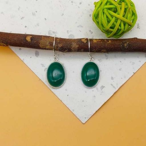 925 Sterling Silver Handmade Bohemian Green Onyx Bezel Design Earring