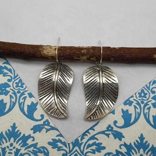 925 Sterling Silver Handmade Bohemian Leaf Design Earring