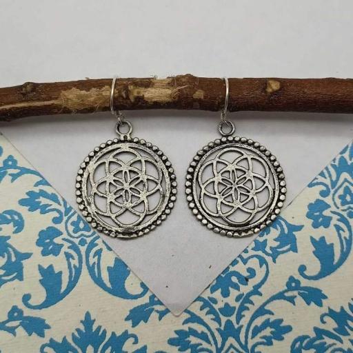 Handmade 925 Sterling Silver Bohemian Chakra Design Earring