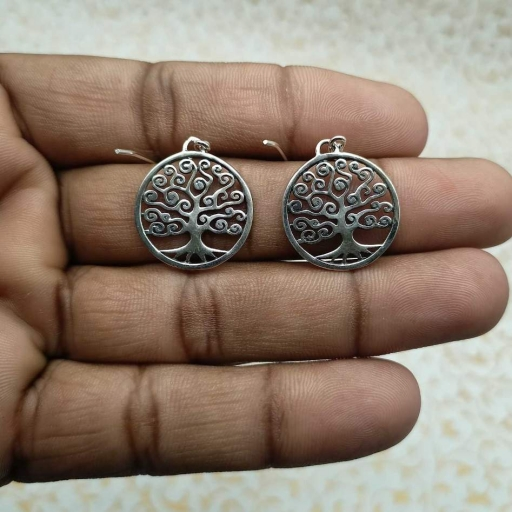 Curvy Tree Of Life Design 925 Sterling Silver Earring Bohemian