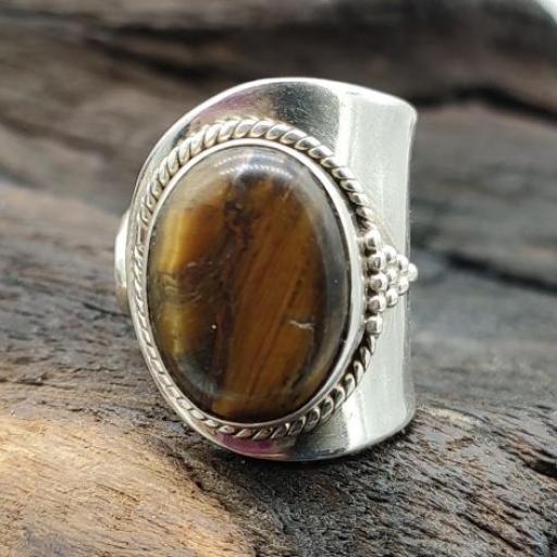 925 Sterling Silver Tiger Eye Gemstone Partywear Adjustable Rings