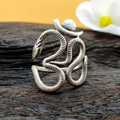 925 Sterling Silver Lord Shiva ''OHM'' Design Adjustable Ring