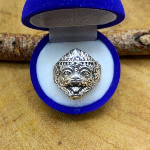 925 Sterling Silver Lion Designer Unisex Silver Band Ring