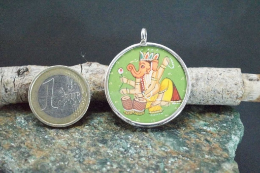 Sterling Silver 925 Glass Framed Handpainted Lord Ganesh On Cloth Pendant