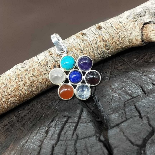 7 Natural Chakra Gemstone Handmade Sterling Silver 925 Bohemian Spiritual Pendant