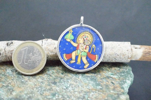 925 Sterling Silver Glass Framed Lord Hanuman Handpainted On Cloth Pendant