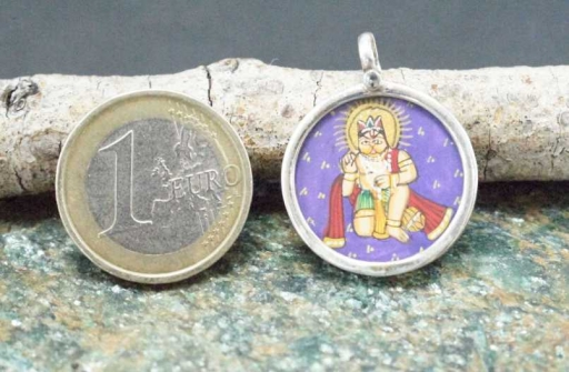 925 Sterling Silver Glass Framed Lord Hanuman Sitting Handpainted On Cloth Pendant