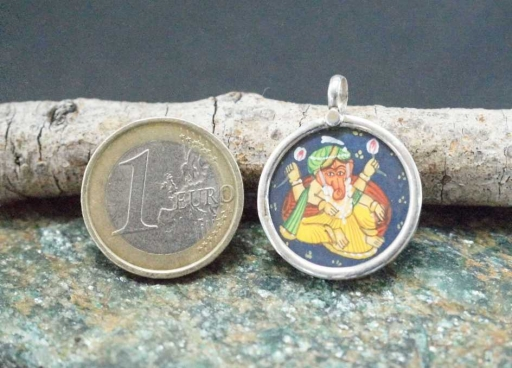 925 Sterling Silver Glass Framed Lord Ganesh Sitting Handpainted On Cloth Pendant