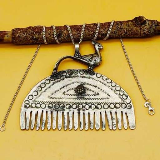 Bohemian Artisan Silver Tribal Peacock On Comb Design Vintage Pendant