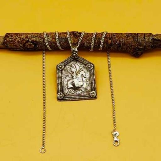 Old 925 Sterling Silver Handmade Oxidized Tribal Vintage Pendant House Shape