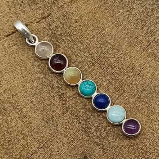 Long Bezel Design 7 Chakra Gemstone Sterling Silver 925 Handmade Yoga Healing Pendant