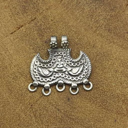 925 Sterling Silver Mustache Designer Tribal Vintage Pendant