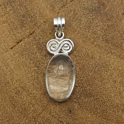 Cabochon Crystal Gemstone Handmade 925 Sterling Silver Simple & Sober Pendant