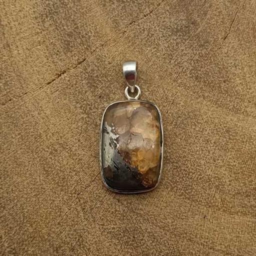 925 Sterling Silver Iron Tiger Apache Unique Gemstone Mix Color Pendant