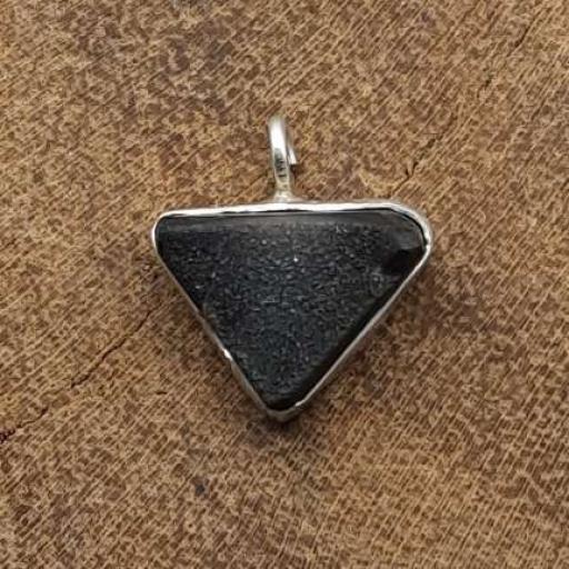 Rough Black Onyx Gemstone Designer Triangle Shape 925 Sterling Silver Pendant