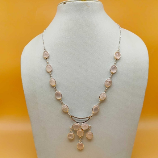 925 Sterling Silver Bezel Design Rose Quartz Gemstone Gift Item Necklace
