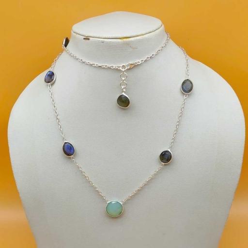 Blue Fire Faceted Labradorite Gemstone 925 Sterling Silver Handmade Bezel Chain Necklace