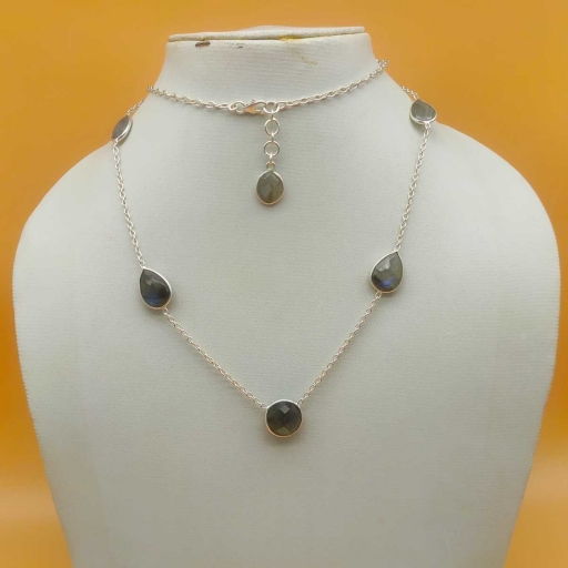 Multi Shape Faceted Labradorite Taple Sterling Silver Chain Necklace Long Necklace