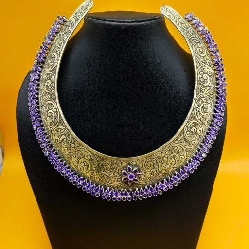 Textured 925 Sterling Silver Handmade Tribal Traditional Hasli With Purple Colored Stones