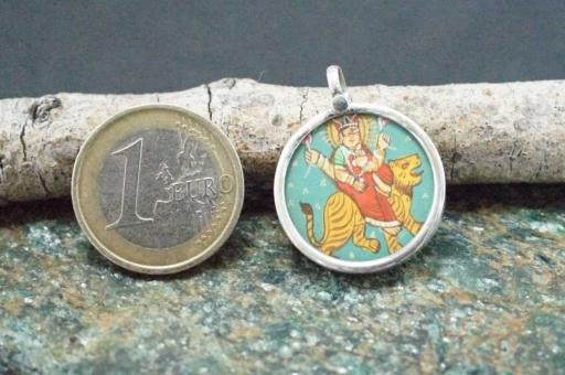 925 Sterling Silver Glass Framed Goddess Saraswati Ganesh Handpainted On Cloth Pendant