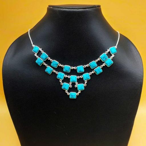 Beautiful Handmade Authentic Turquoise Gemstone Designer Bezel Necklace With Chain