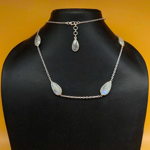 925 Sterling Silver Drop Shape Faceted Rainbow Moonstone Designer Chain Necklace