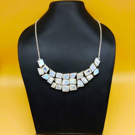 925 Sterling Silver Handmade Bohemian Chunky Necklace With Faceted Rainbow Moonstone