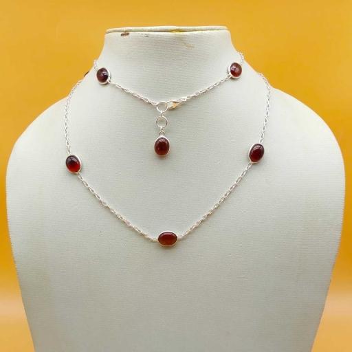 925 Sterling Silver Oval Shape Cabochon Hessonite Gemstone Designer Chain Necklace