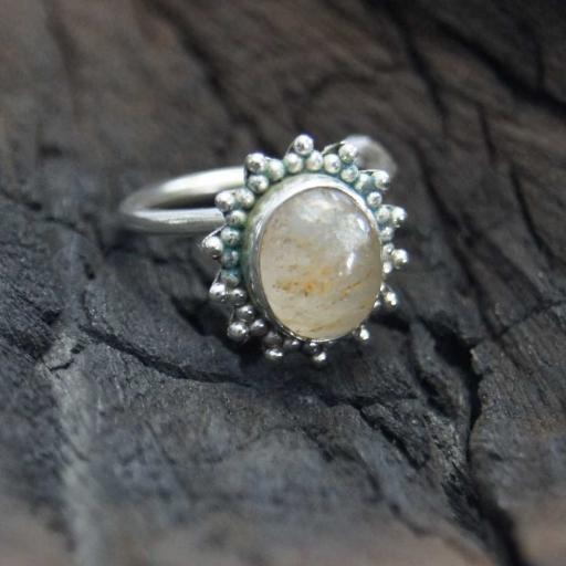 Golden Rutile Quartz Gemstone Handmade 925 Silver Ring