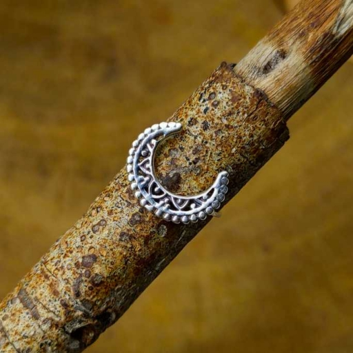 Jali Work Moon Design Dainty Stacking Ring In 925 Sterling Silver