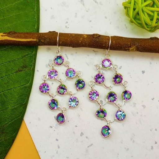 Round Shape Mystic Topaz Faceted Gemstone Handmade 925 Sterling Silver Earring