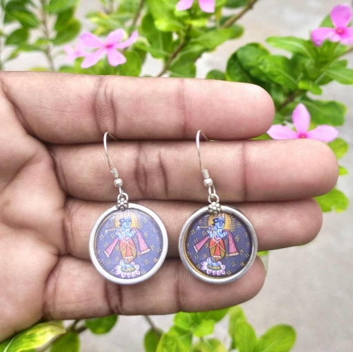 925 Sterling Silver Lord Krishna Hand painted Glass Frame Earring